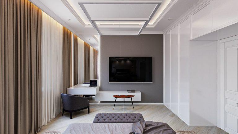 телевизор 65 дюймов в большой спальне с двумя окнами, туалетный столик подвесной, подвесная тумбочка под телевизором с PS