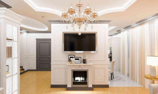 Дизайн интерьера домов в минске, ракурс на телевизор в доме, современная классика