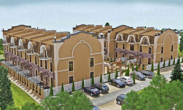 оформление фасада здания, концептуальная презентация таунхаусов