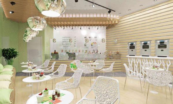 Дизайн интерьера кафе в Минске, кафе в спокойных теплых тонах