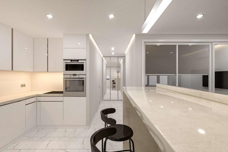 дизайн квартиры в минске, евродвушка, минимализм, светлая кухня-гостиная
