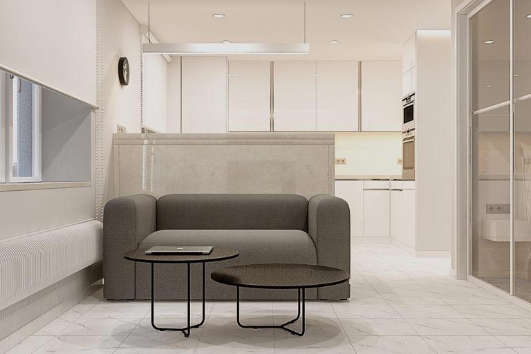 ракурс на небольшой диван в стиле минимализм
